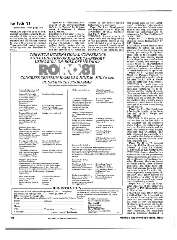 Maritime Reporter Magazine, page 38,  May 1981 RoRo