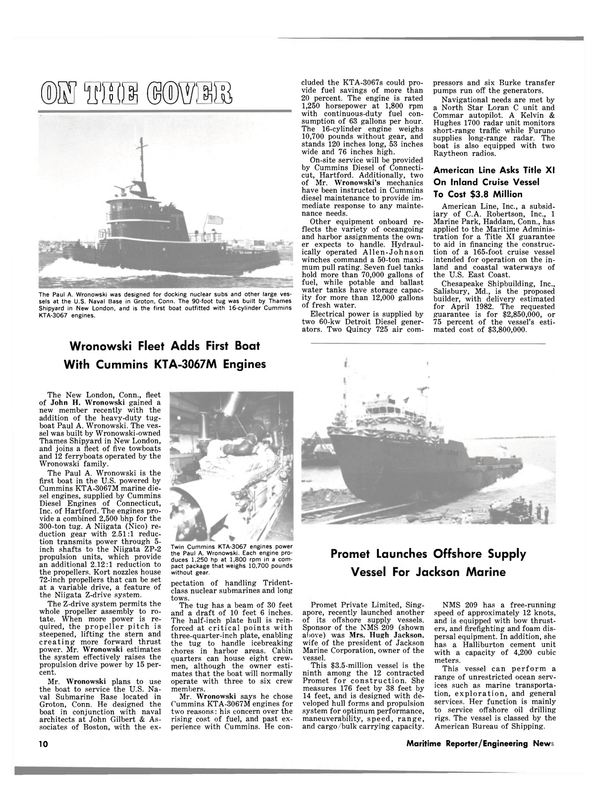 Maritime Reporter Magazine, page 8,  May 15, 1981 Paul A. Wronowski