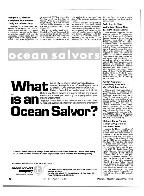 Maritime Reporter Magazine, page 38,  May 15, 1981 Florida