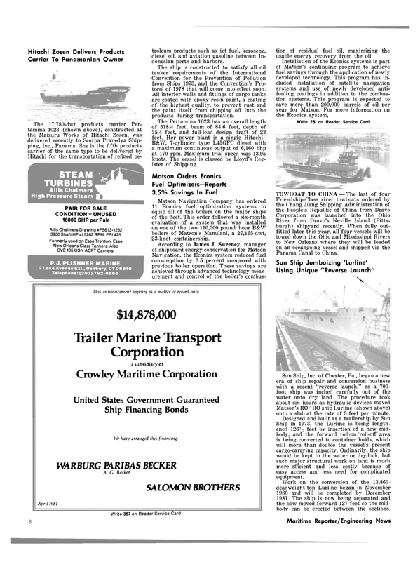 Maritime Reporter Magazine, page 6,  May 15, 1981