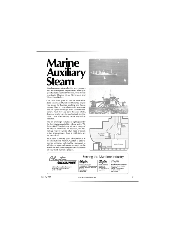 Maritime Reporter Magazine, page 7,  Jun 1981 Waste Heat Boilers