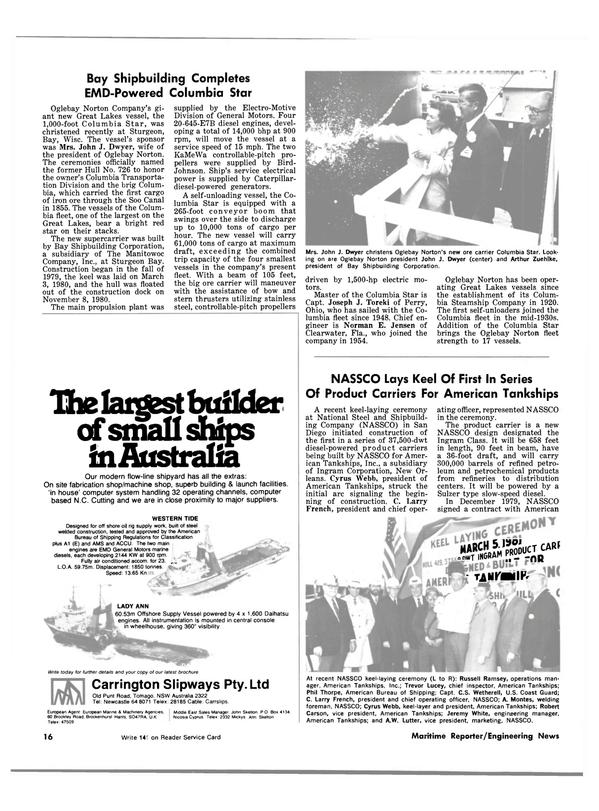 Maritime Reporter Magazine, page 14,  Jun 15, 1981