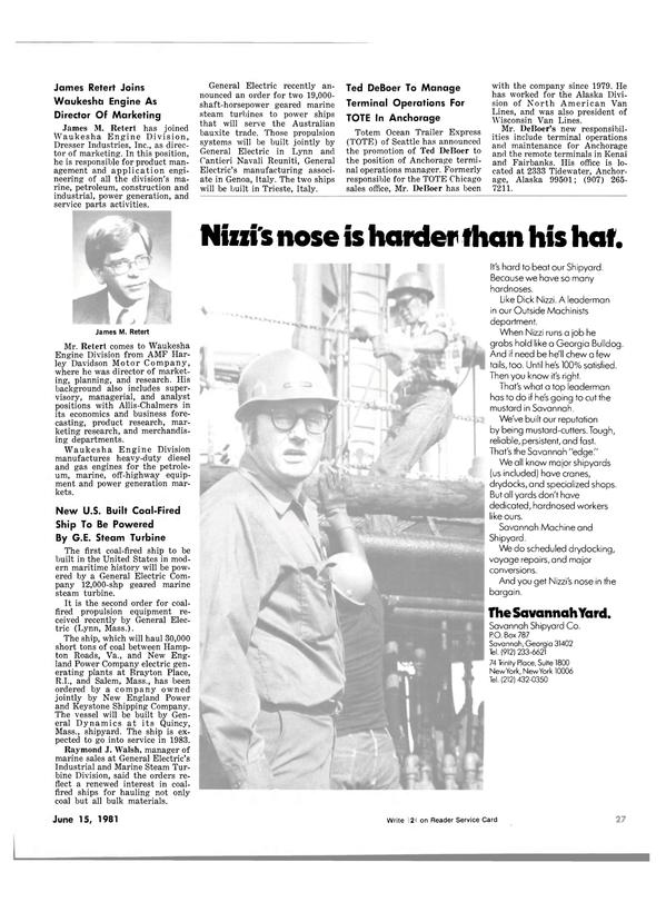 Maritime Reporter Magazine, page 25,  Jun 15, 1981