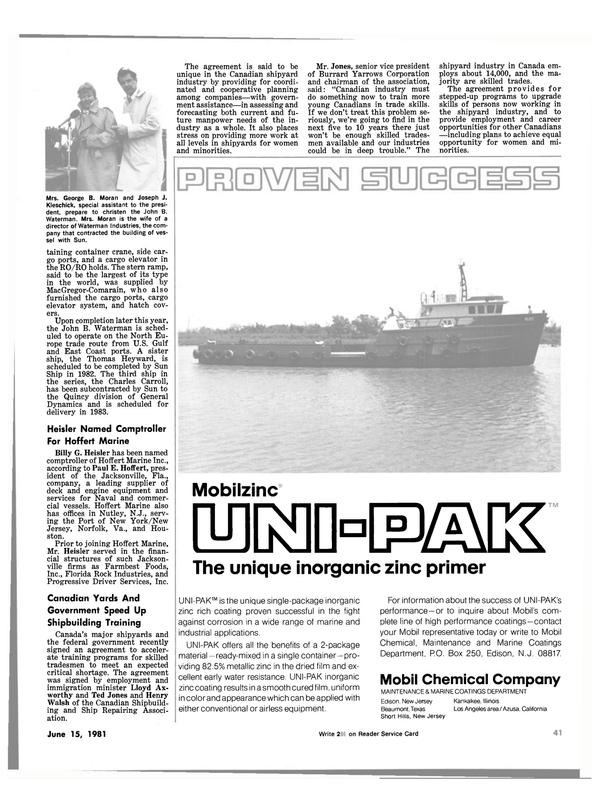 Maritime Reporter Magazine, page 39,  Jun 15, 1981