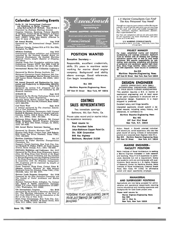 Maritime Reporter Magazine, page 43,  Jun 15, 1981