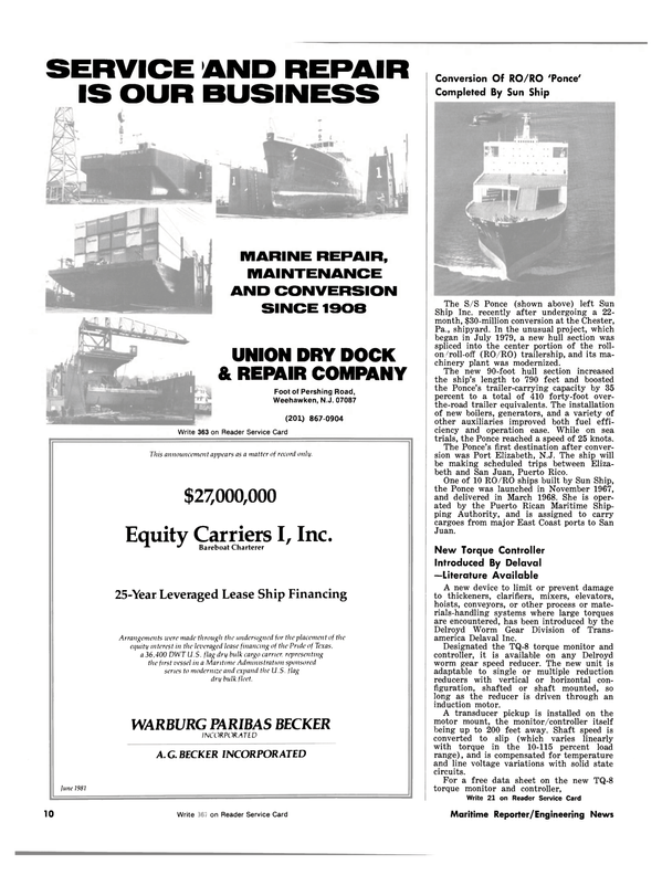 Maritime Reporter Magazine, page 8,  Jul 1981 Texas
