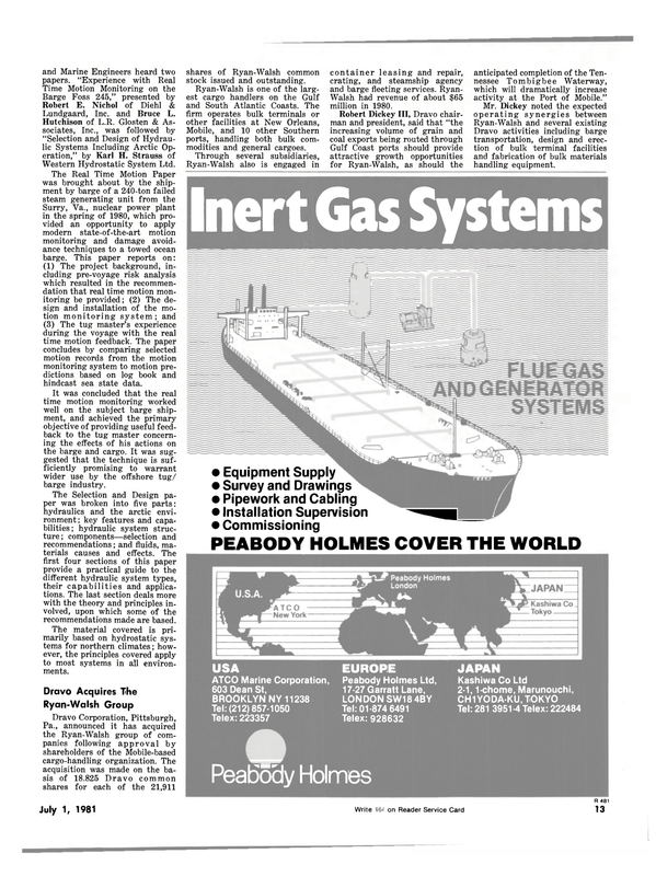 Maritime Reporter Magazine, page 11,  Jul 1981