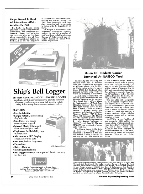 Maritime Reporter Magazine, page 12,  Jul 1981 Massachusetts