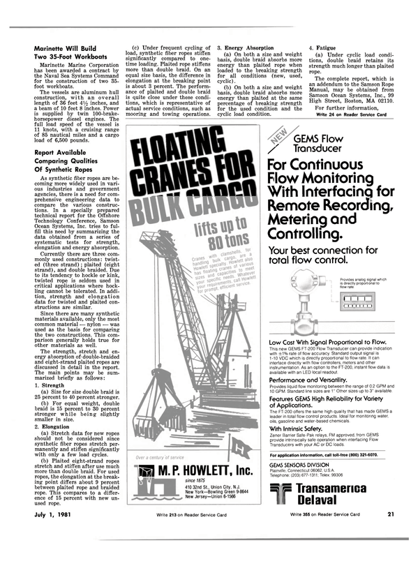 Maritime Reporter Magazine, page 19,  Jul 1981