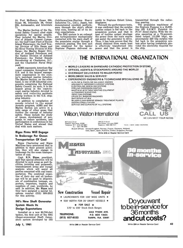 Maritime Reporter Magazine, page 41,  Jul 1981