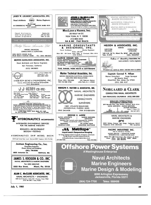 Maritime Reporter Magazine, page 47,  Jul 1981 California