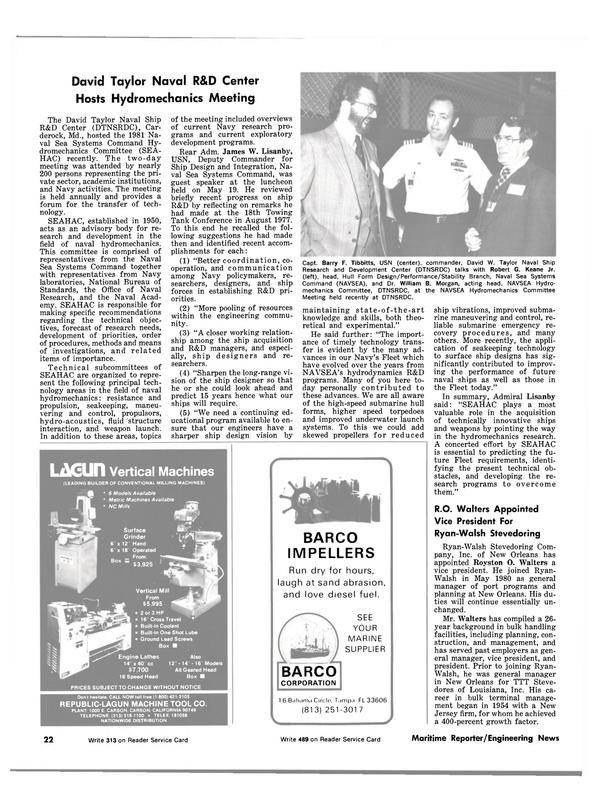 Maritime Reporter Magazine, page 20,  Jul 15, 1981