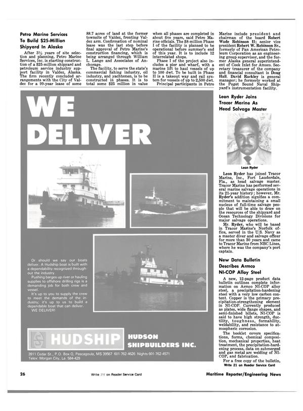 Maritime Reporter Magazine, page 24,  Jul 15, 1981
