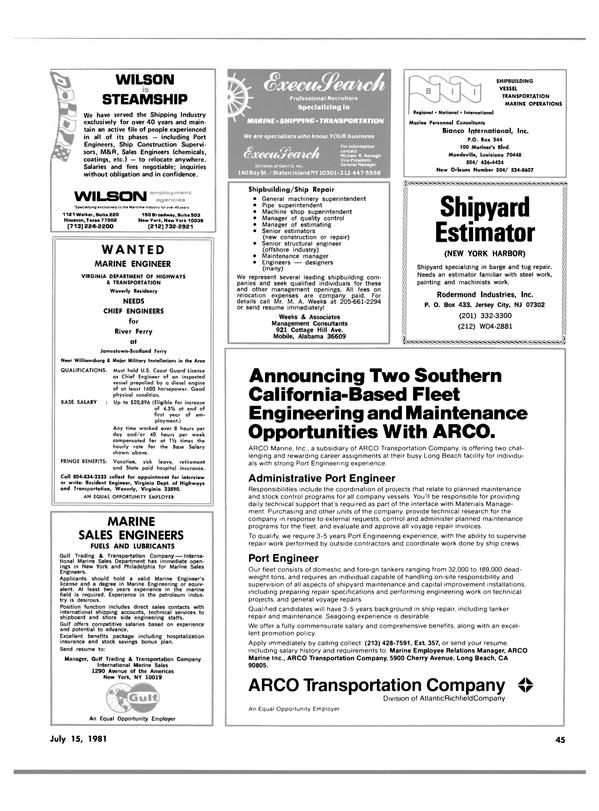 Maritime Reporter Magazine, page 43,  Jul 15, 1981