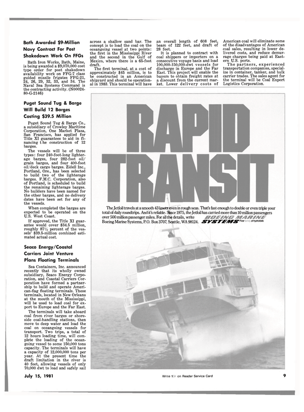 Maritime Reporter Magazine, page 7,  Jul 15, 1981
