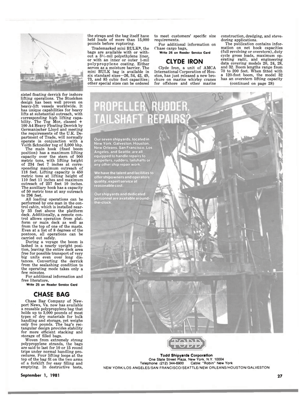 Maritime Reporter Magazine, page 25,  Sep 1981 Todd Shipyards Corporation One State Street Plaza
