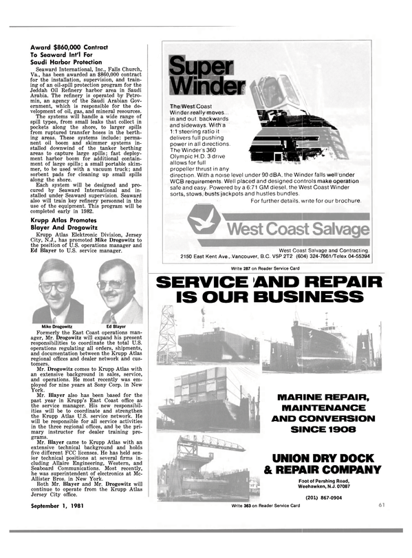 Maritime Reporter Magazine, page 59,  Sep 1981