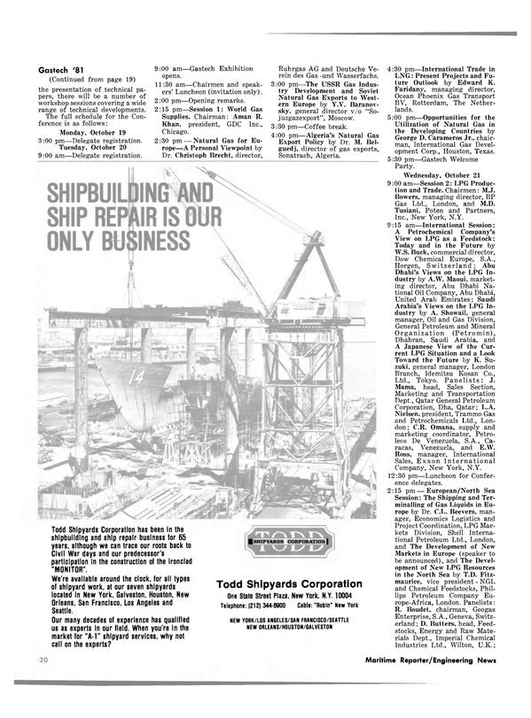 Maritime Reporter Magazine, page 16,  Oct 1981 George D. Carameros Jr.