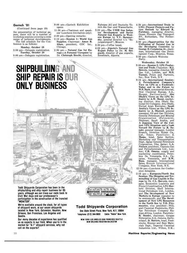 Maritime Reporter Magazine, page 18,  Oct 1981 George D. Carameros Jr.