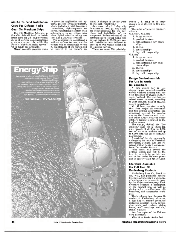 Maritime Reporter Magazine, page 42,  Oct 1981 defense communications systems