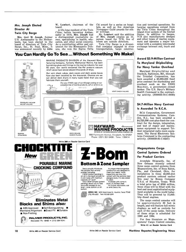 Maritime Reporter Magazine, page 8,  Oct 15, 1981 Minnesota