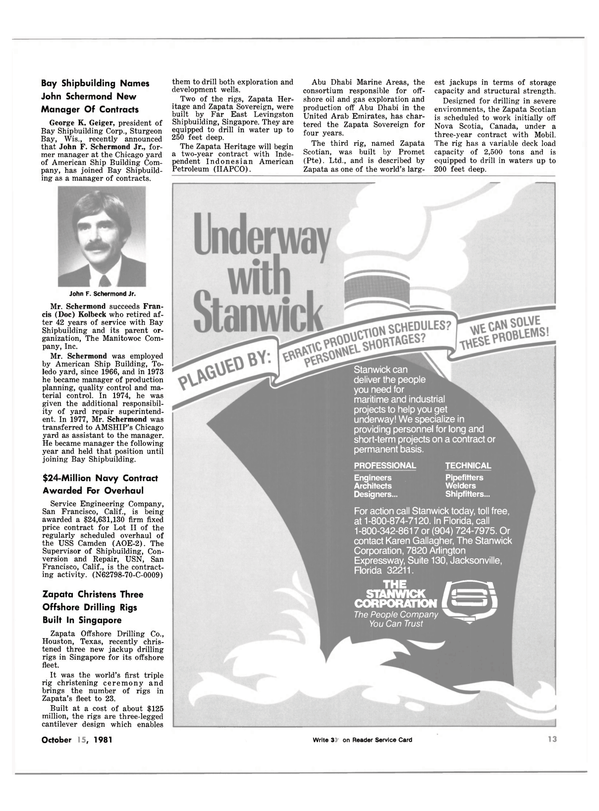 Maritime Reporter Magazine, page 11,  Oct 15, 1981