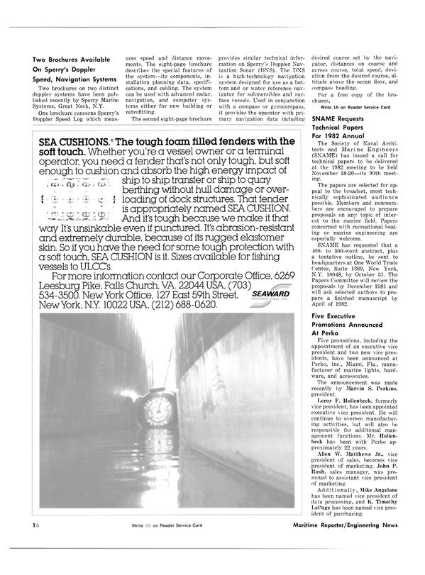 Maritime Reporter Magazine, page 14,  Oct 15, 1981