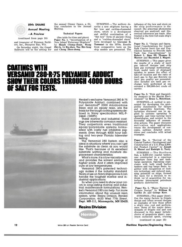 Maritime Reporter Magazine, page 10,  Nov 1981 Versamid 280 System