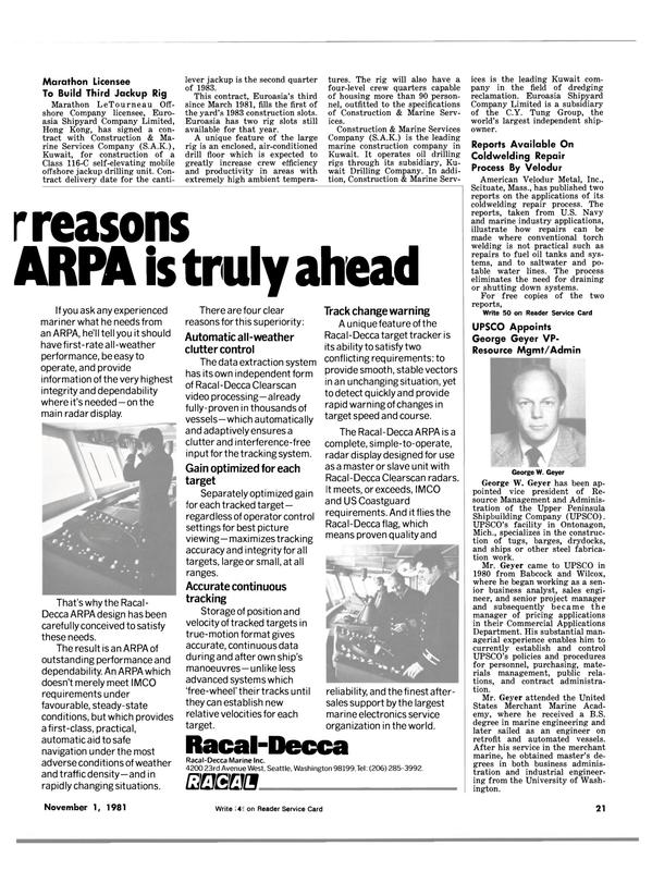 Maritime Reporter Magazine, page 23,  Nov 1981 Massachusetts