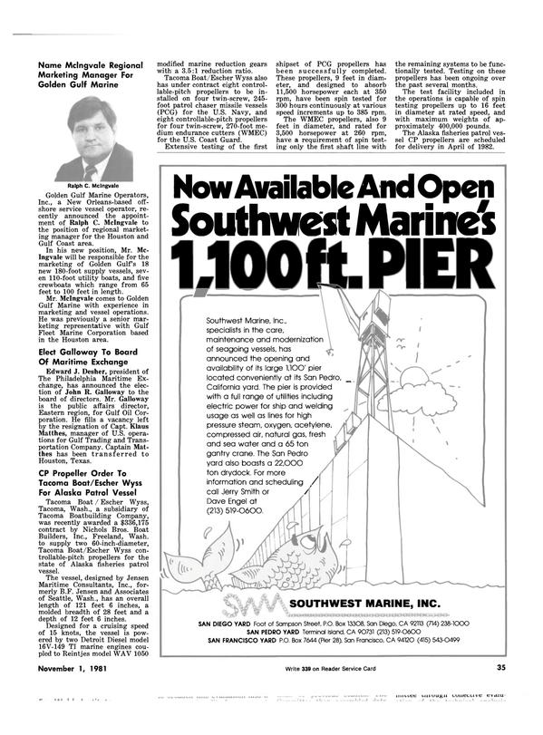 Maritime Reporter Magazine, page 35,  Nov 1981