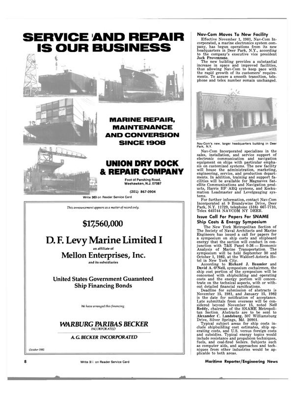 Maritime Reporter Magazine, page 6,  Nov 1981 New Jersey