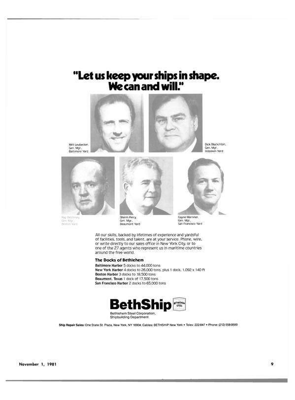 Maritime Reporter Magazine, page 7,  Nov 1981 New York Harbor