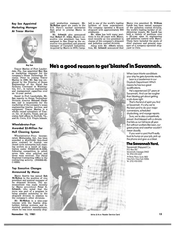Maritime Reporter Magazine, page 9,  Nov 15, 1981