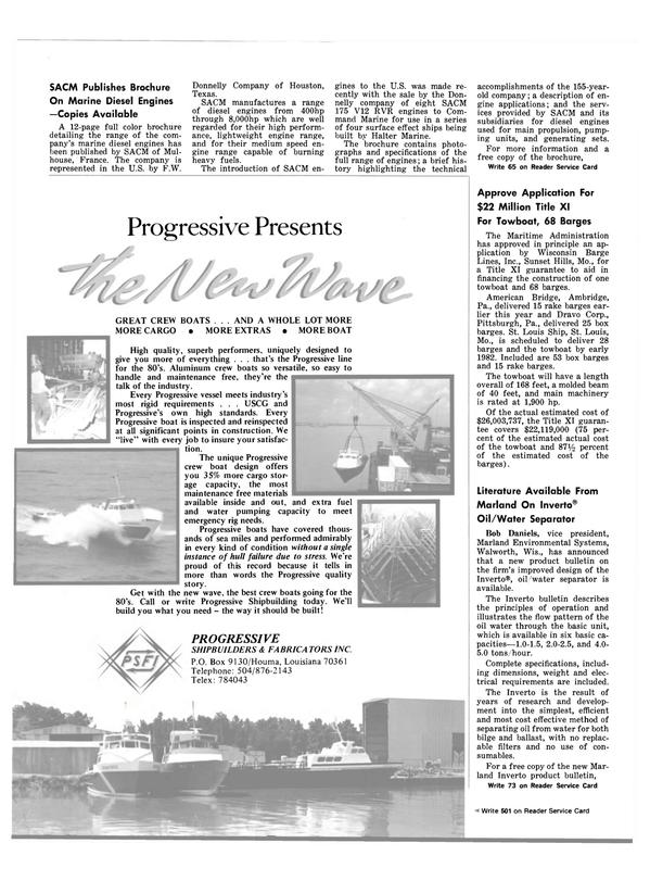 Maritime Reporter Magazine, page 12,  Nov 15, 1981