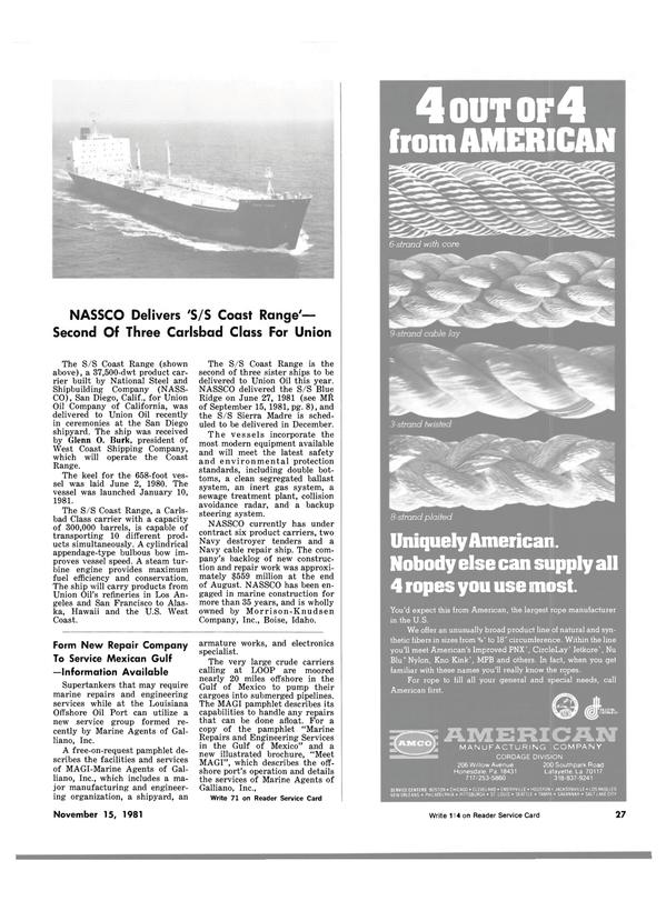 Maritime Reporter Magazine, page 23,  Nov 15, 1981