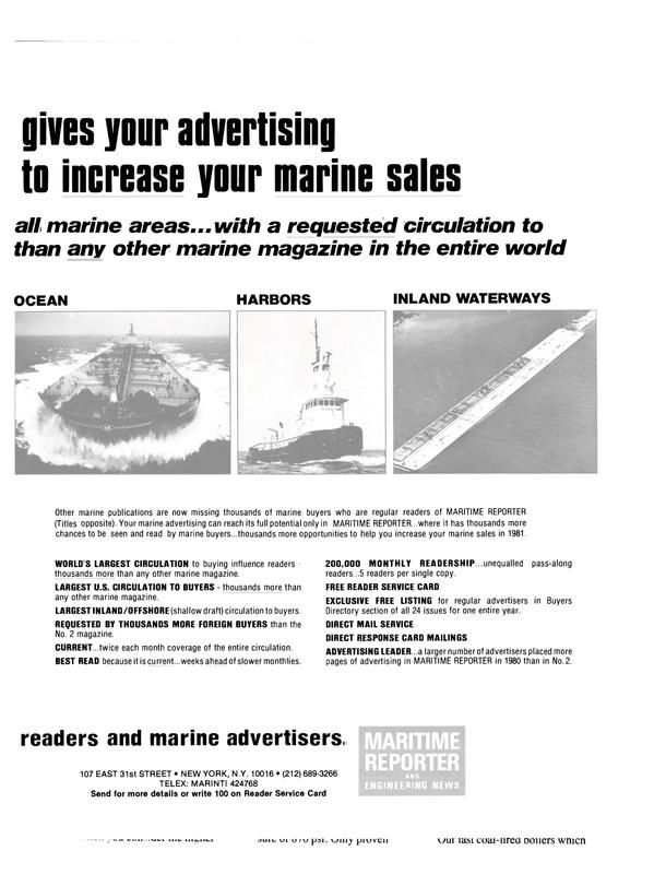 Maritime Reporter Magazine, page 29,  Nov 15, 1981