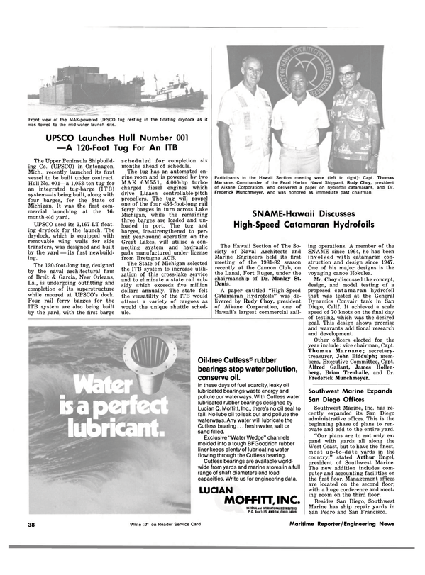 Maritime Reporter Magazine, page 36,  Nov 15, 1981