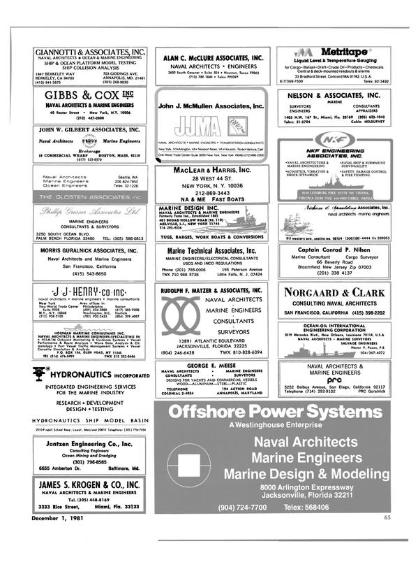 Maritime Reporter Magazine, page 43,  Dec 1981
