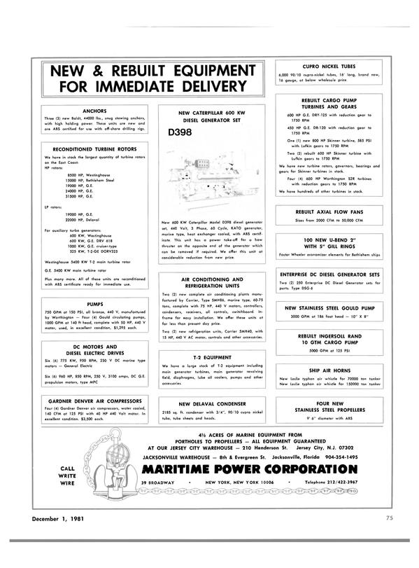 Maritime Reporter Magazine, page 53,  Dec 1981