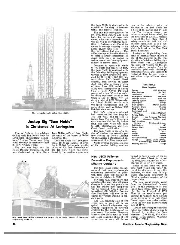 Maritime Reporter Magazine, page 42,  Jan 15, 1983