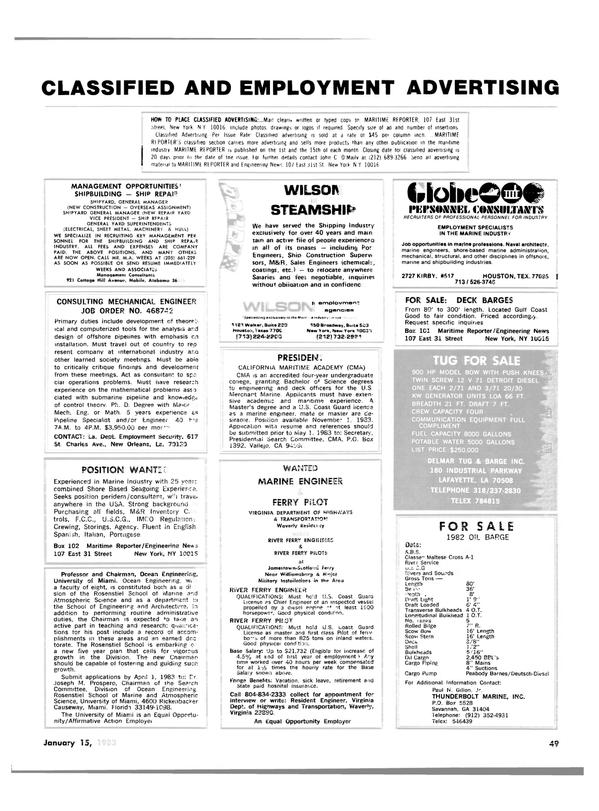 Maritime Reporter Magazine, page 45,  Jan 15, 1983 California
