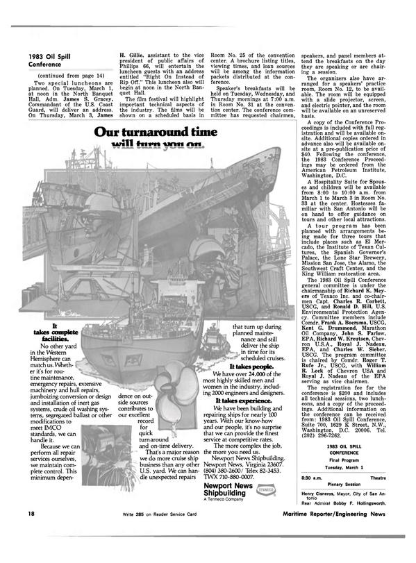 Maritime Reporter Magazine, page 14,  Feb 15, 1983