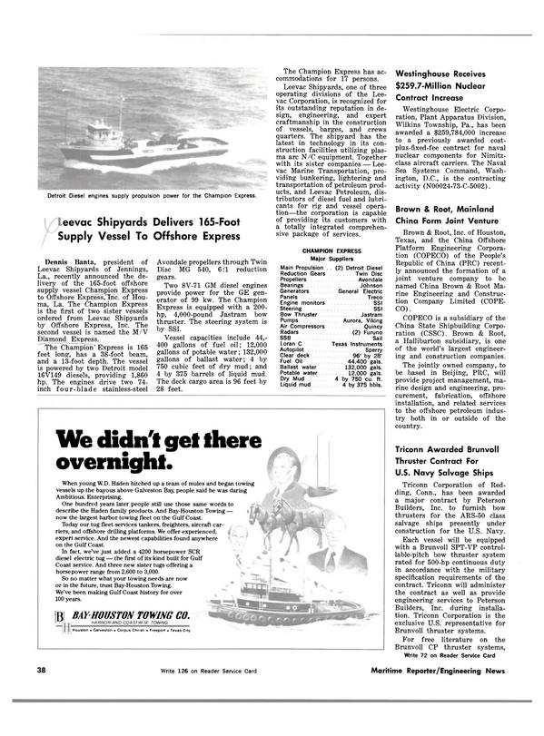 Maritime Reporter Magazine, page 34,  Feb 15, 1983