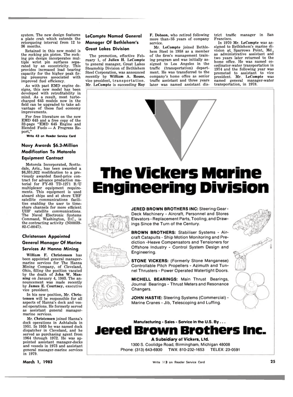 Maritime Reporter Magazine, page 23,  Mar 1983