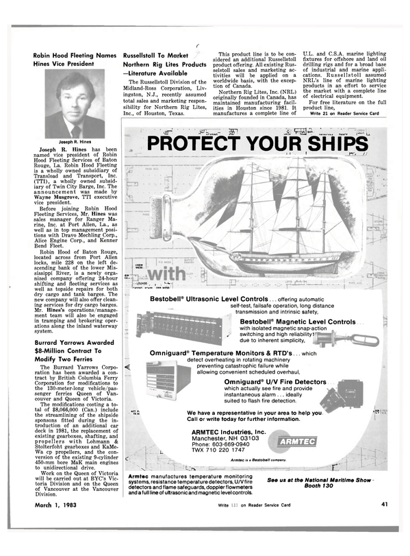 Maritime Reporter Magazine, page 39,  Mar 1983