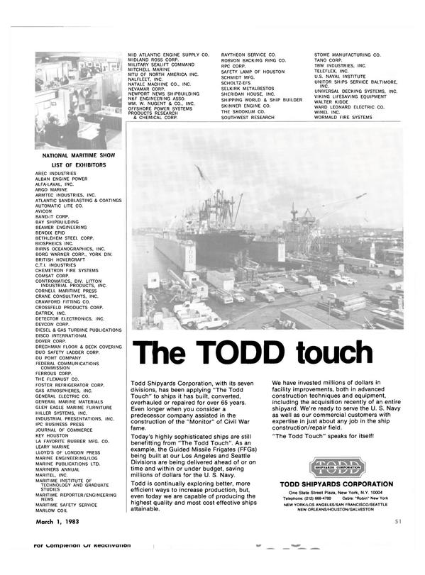 Maritime Reporter Magazine, page 49,  Mar 1983
