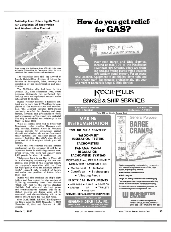 Maritime Reporter Magazine, page 53,  Mar 1983