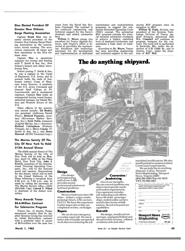 Maritime Reporter Magazine, page 63,  Mar 1983 Virginia