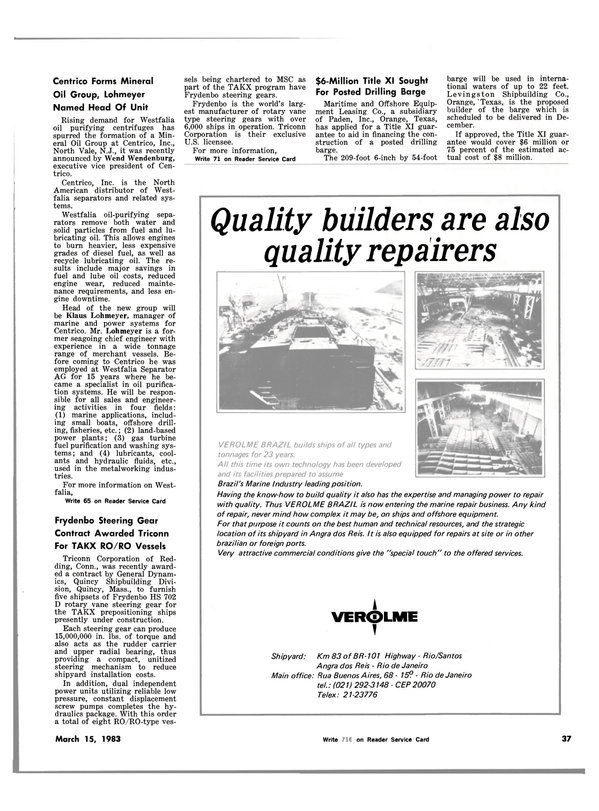 Maritime Reporter Magazine, page 39,  Mar 15, 1983