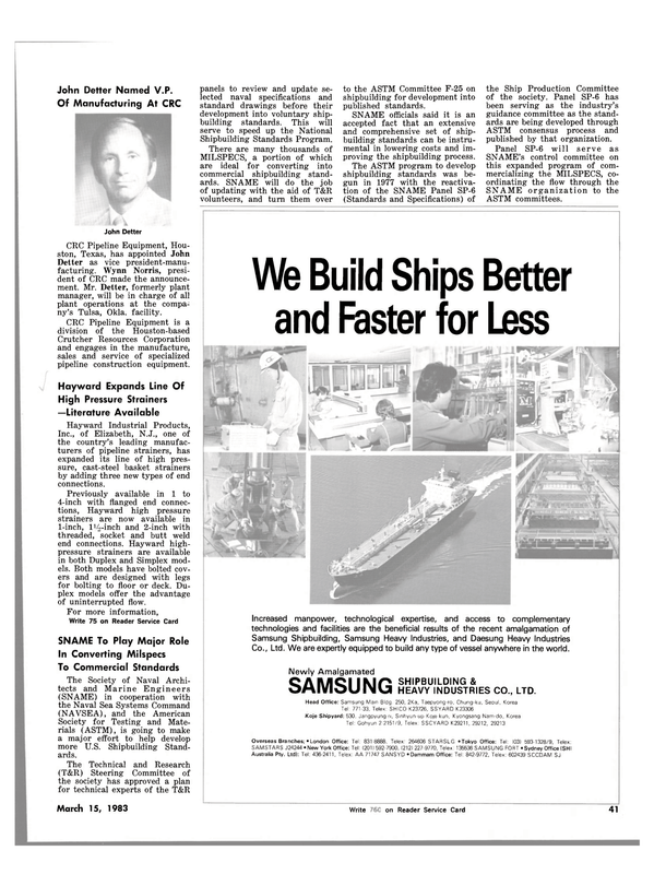 Maritime Reporter Magazine, page 43,  Mar 15, 1983